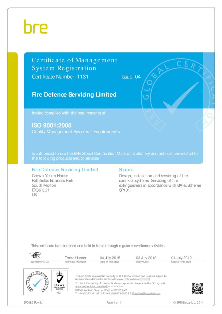 July 2018 Certificate C1131-04 Fire Defence Servicing Ltd