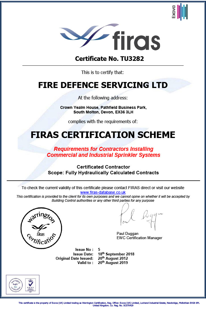 Firas Accreditation Certificate Fire Defence Servicing